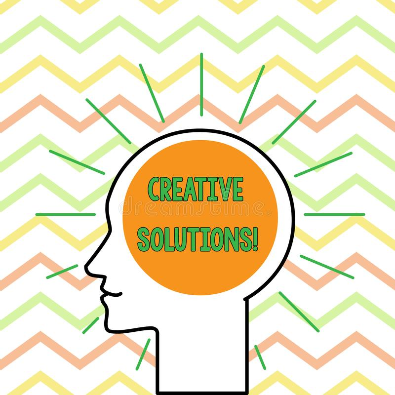 Conceptuele hand die tonend Creatieve Oplossingen schrijven De Originele en unieke benadering van de bedrijfsfototekst in het opl vector illustratie