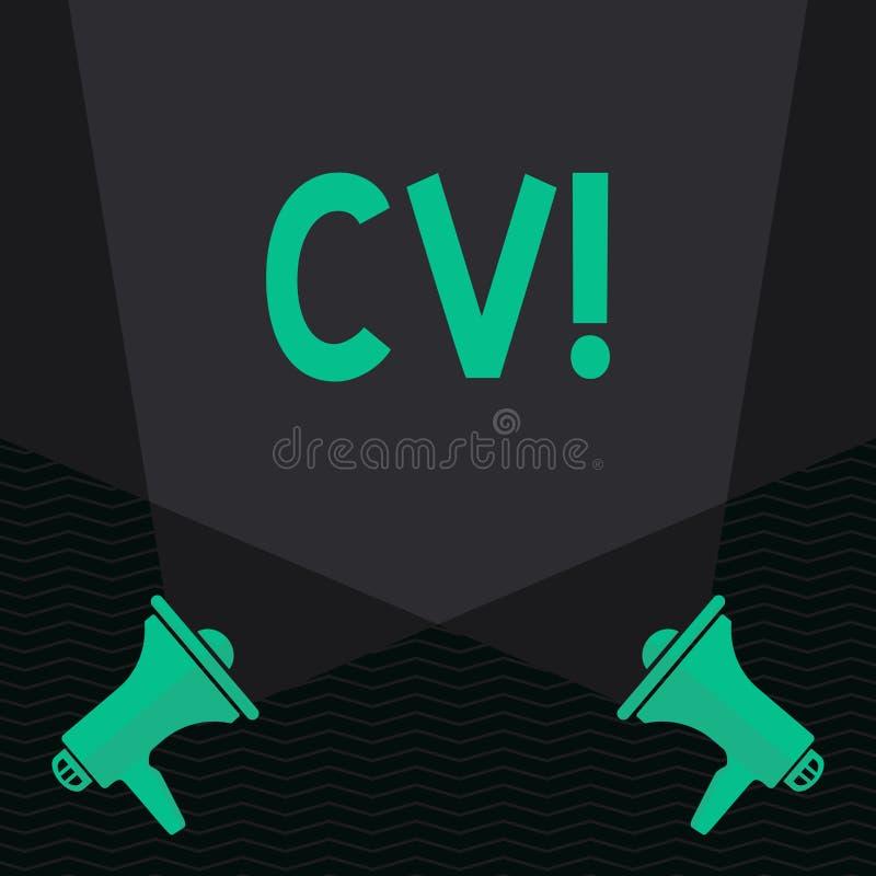 Conceptuele hand die tonend Cv schrijven Het Curriculum vitae van de bedrijfsfototekst hervat Infographics-Baan Zoekend Werknemer stock illustratie