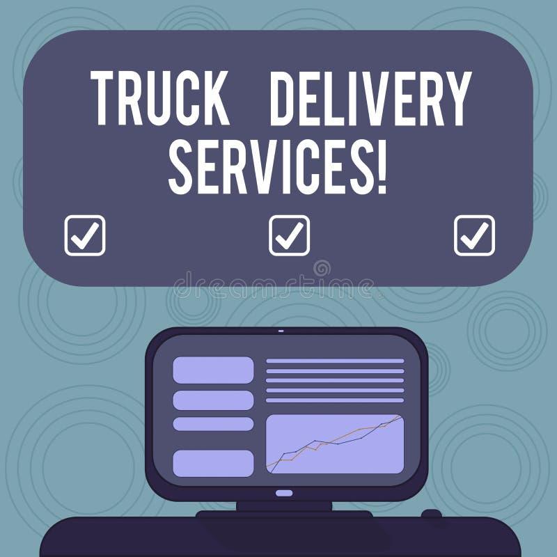 Conceptuele hand die tonend de Diensten van de Vrachtwagenlevering schrijven Bedrijfsfoto die een bestelwagen geschikt om goedere royalty-vrije illustratie