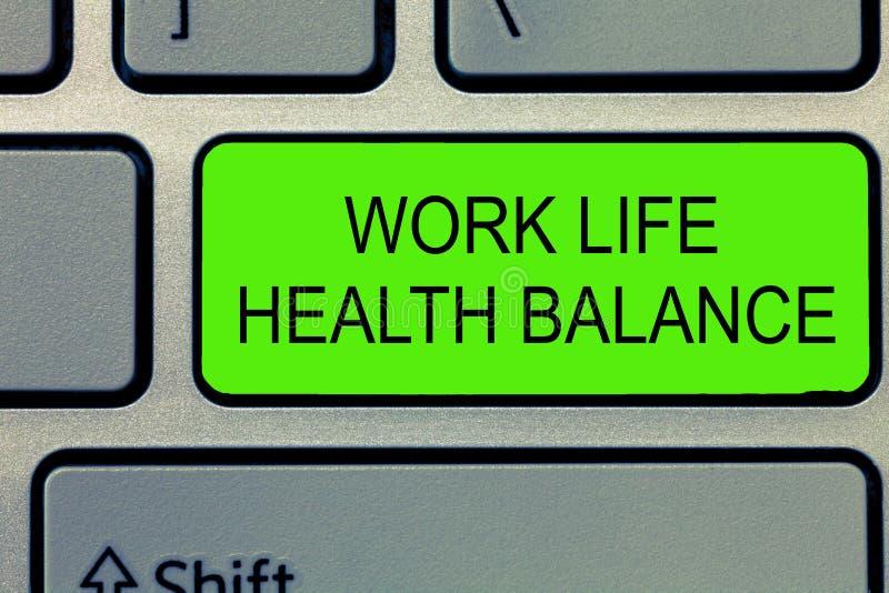 Conceptuele hand die tonend de Gezondheidssaldo van het het Werkleven schrijven De de te verhinderen Stabiliteit en Harmonie van  stock fotografie