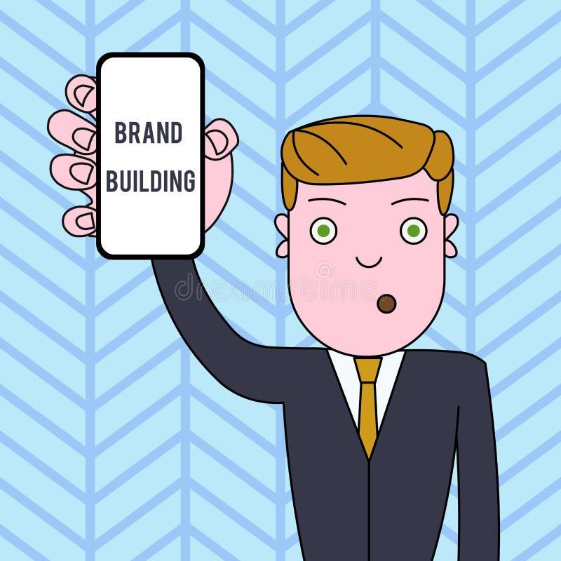 Conceptuele hand die tonend de Merkbouw schrijven Bedrijfsfototekst die en voorlichting produceren die vestigen bevorderen stock illustratie