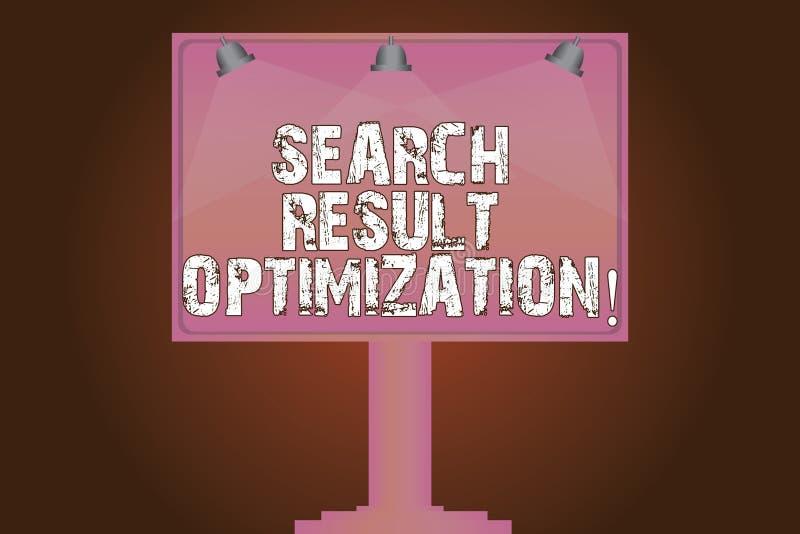 Conceptuele hand die tonend de Optimalisering van het Zoekenresultaat schrijven E stock illustratie