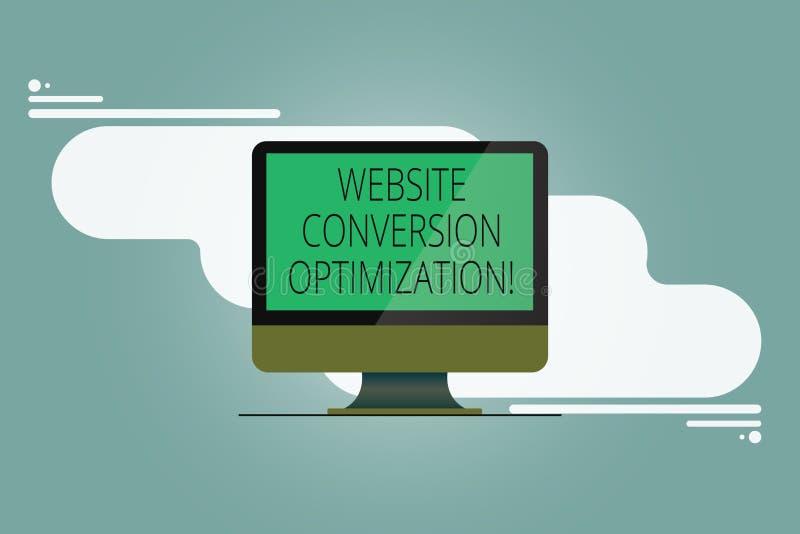 Conceptuele hand die tonend de Optimalisering van de Websiteomzetting schrijven Bedrijfsfoto demonstratiesysteem om website te ve royalty-vrije illustratie
