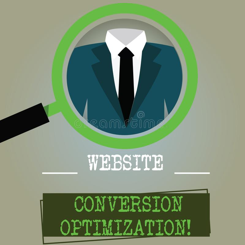 Conceptuele hand die tonend de Optimalisering van de Websiteomzetting schrijven Het Systeem van de bedrijfsfototekst om website t vector illustratie