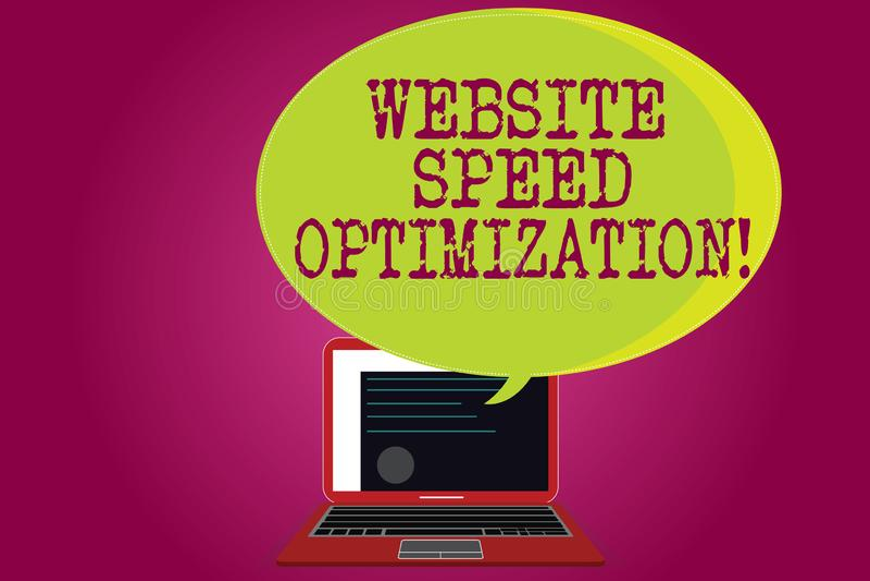 Conceptuele hand die tonend de Optimalisering van de Websitesnelheid schrijven De bedrijfsfototekst verbetert websitesnelheid om  royalty-vrije illustratie