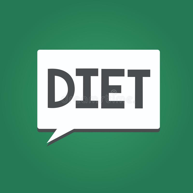 Conceptuele hand die tonend Dieet schrijven Vermindert de Gezonde levensstijl van de bedrijfsfototekst voedselopname Vegetarisch  royalty-vrije illustratie