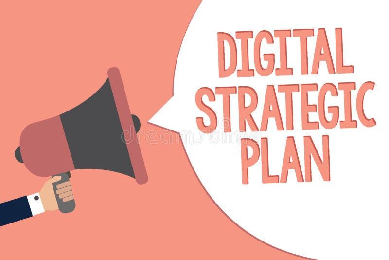 Conceptuele hand die tonend Digitaal Strategisch Plan schrijven De bedrijfsfototekst leidt tot programma voor de marketing van pr vector illustratie