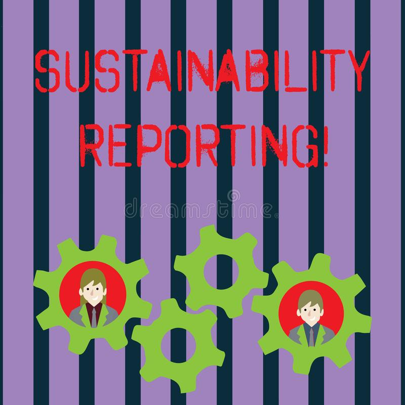 Conceptuele hand die tonend Duurzaamheid Rapportering schrijven De bedrijfsfoto demonstratie geeft economische informatie royalty-vrije illustratie