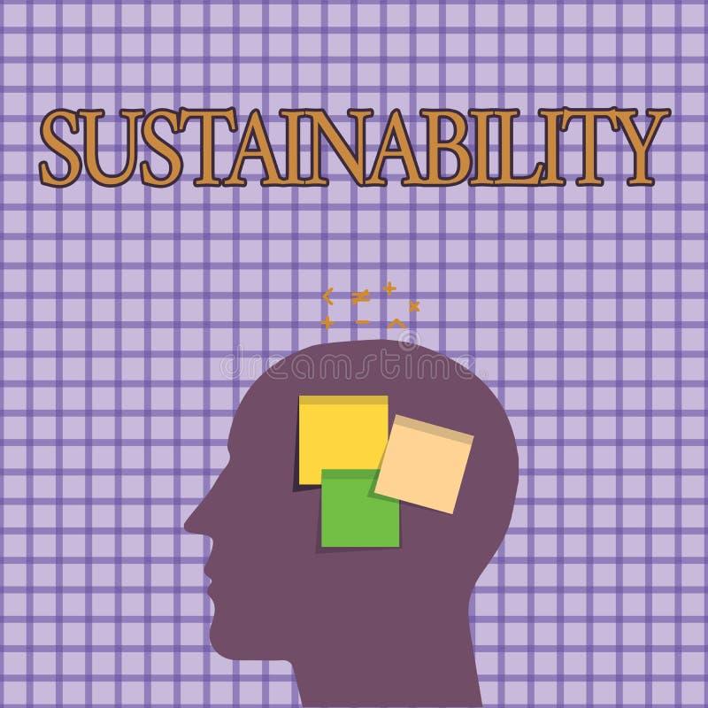 Conceptuele hand die tonend Duurzaamheid schrijven Bedrijfsfoto die de capaciteit dat aan een bepaald tarief demonstreren moet wo royalty-vrije illustratie