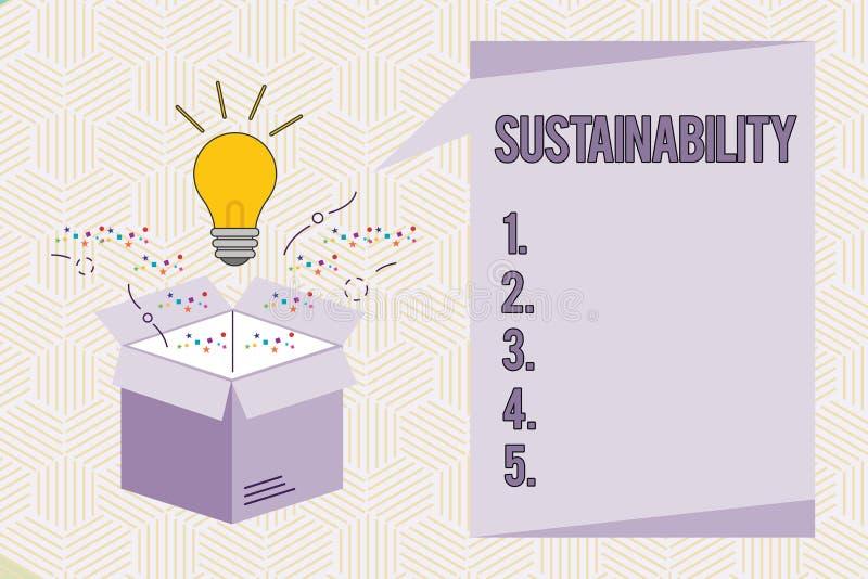 Conceptuele hand die tonend Duurzaamheid schrijven Bedrijfsfototekst de capaciteit dat aan een bepaald tarief moet worden gehandh royalty-vrije illustratie
