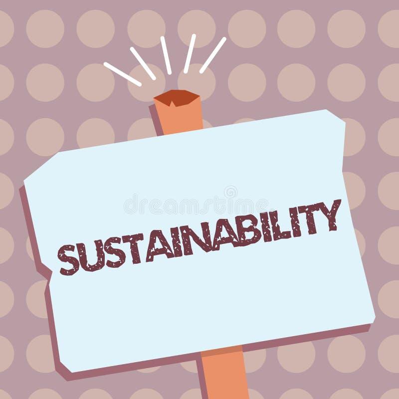 Conceptuele hand die tonend Duurzaamheid schrijven Bedrijfsfototekst de capaciteit dat aan een bepaald tarief moet worden gehandh vector illustratie