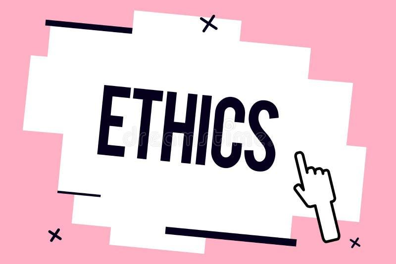 Conceptuele hand die tonend Ethiek schrijven Bedrijfsfoto die morele principes demonstreren die persoonsgedrag of het leiden van  stock illustratie