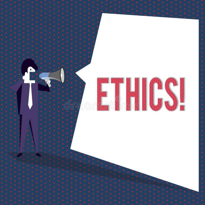 Conceptuele hand die tonend Ethiek schrijven Bedrijfsfototekst die gelijkheidsevenwicht handhaven die onder andere moraal hebben vector illustratie