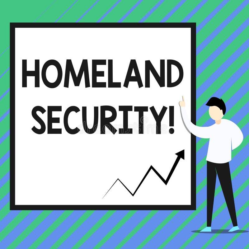 Conceptuele hand die tonend Geboortelandveiligheid schrijven Bedrijfsfoto die federaal die agentschap demonstreren wordt gebouwd  stock illustratie
