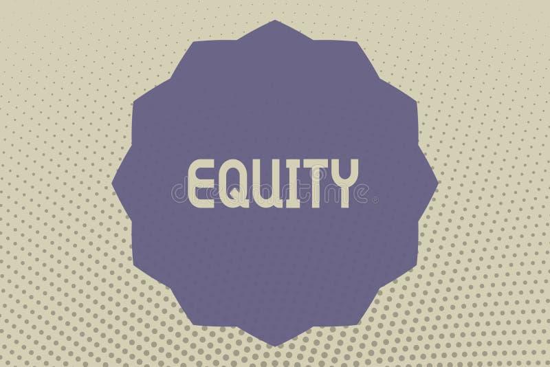 Conceptuele hand die tonend Gelijkheid schrijven De Waarde van de bedrijfsfototekst van een bedrijf verdeelde in gelijke langs be vector illustratie