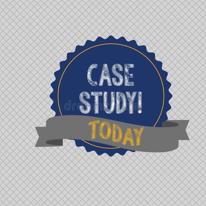 Conceptuele hand die tonend Gevallenanalyse schrijven Het verslag van de bedrijfsfototekst van onderzoek naar ontwikkeling van bi royalty-vrije illustratie