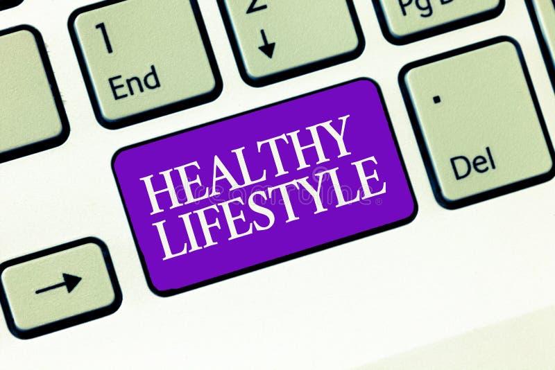 Conceptuele hand die tonend Gezonde Levensstijl schrijven Bedrijfsfototekst Live Healthy Engage in fysische activiteit en oefenin royalty-vrije stock afbeelding
