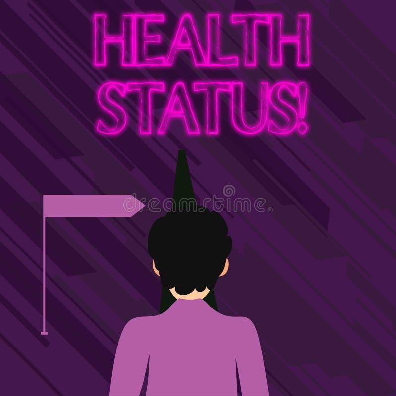 Conceptuele hand die tonend Gezondheidsstatus schrijven Bedrijfsfototekst de staat van gezondheid van het aantonen of een bevolki vector illustratie