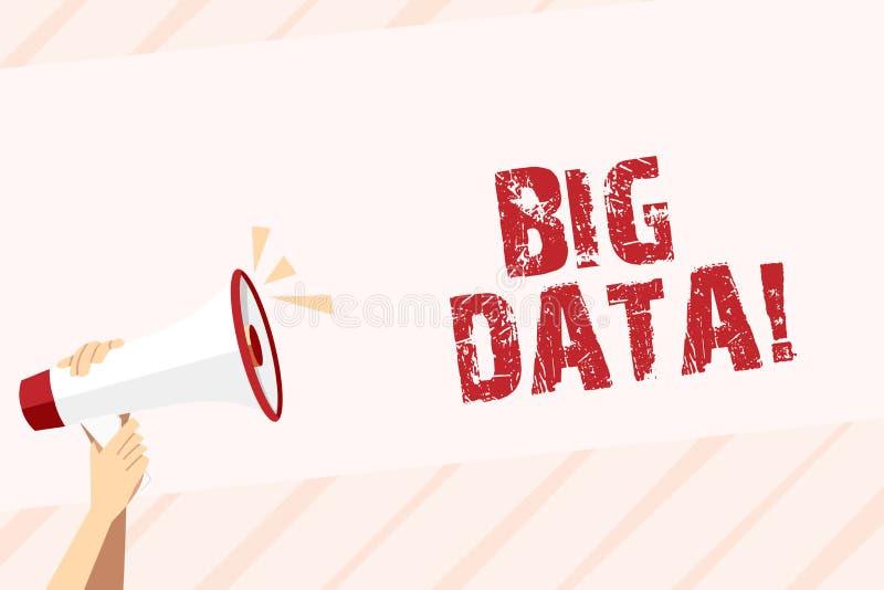 Conceptuele hand die tonend Grote Gegevens schrijven Grote reeksen van de bedrijfsfototekst de uiterst die kunnen worden geanalys vector illustratie