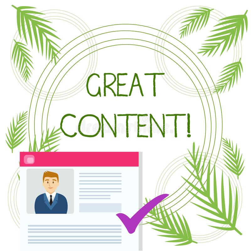 Conceptuele hand die tonend Grote Inhoud schrijven Waardevolle de tekstkwestie van de bedrijfsfototekst van een document of een p royalty-vrije illustratie