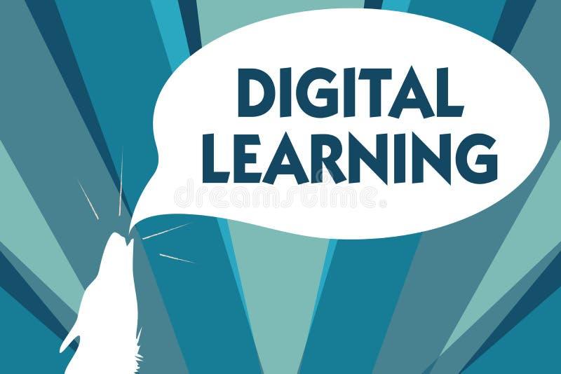 Conceptuele hand die tonend het Digitale Leren schrijven Bedrijfsfoto demonstratie gecombineerd door technologie of met educatiev royalty-vrije illustratie