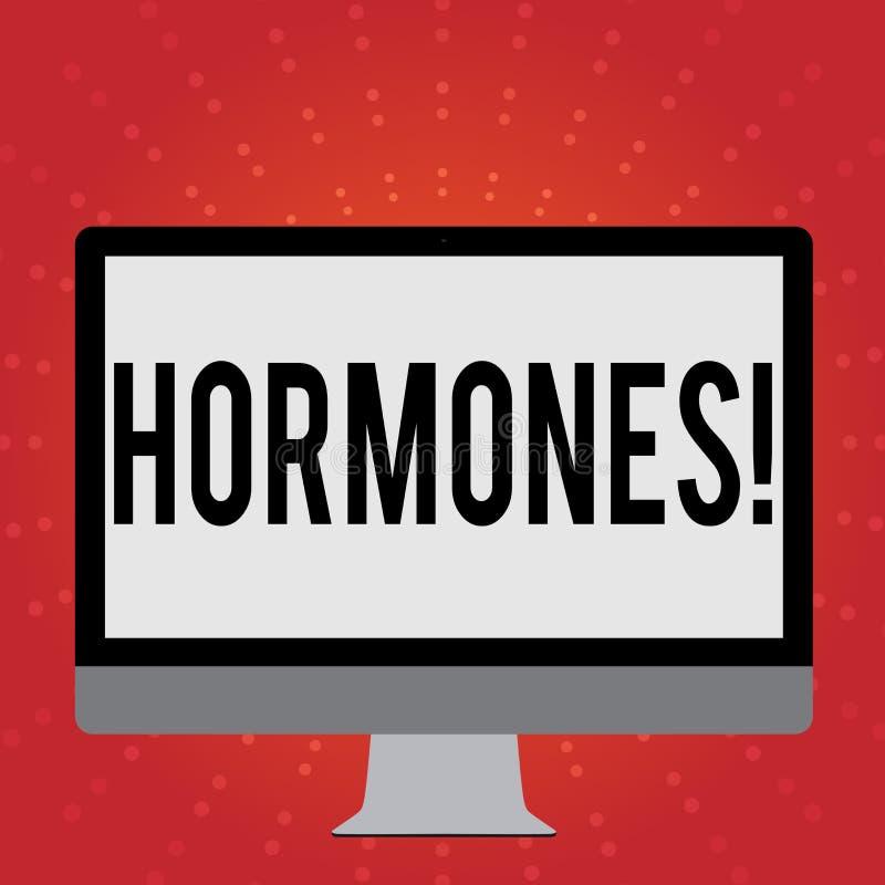 Conceptuele hand die tonend Hormonen schrijven Bedrijfsfoto die Regelgevende substantie demonstreren die in een organisme wordt g stock illustratie