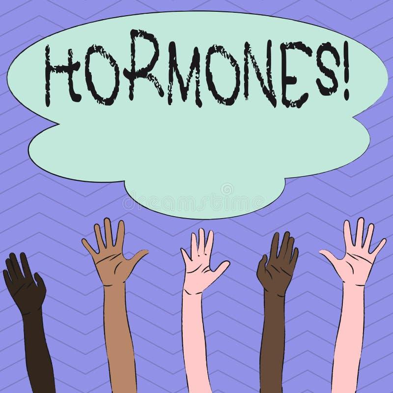 Conceptuele hand die tonend Hormonen schrijven Bedrijfsfoto die Regelgevende substantie demonstreren die in een organisme wordt g vector illustratie