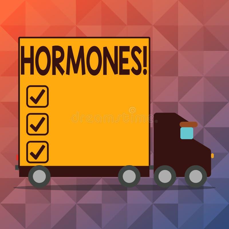 Conceptuele hand die tonend Hormonen schrijven De Regelgevende die substantie van de bedrijfsfototekst in een organisme wordt gep stock illustratie