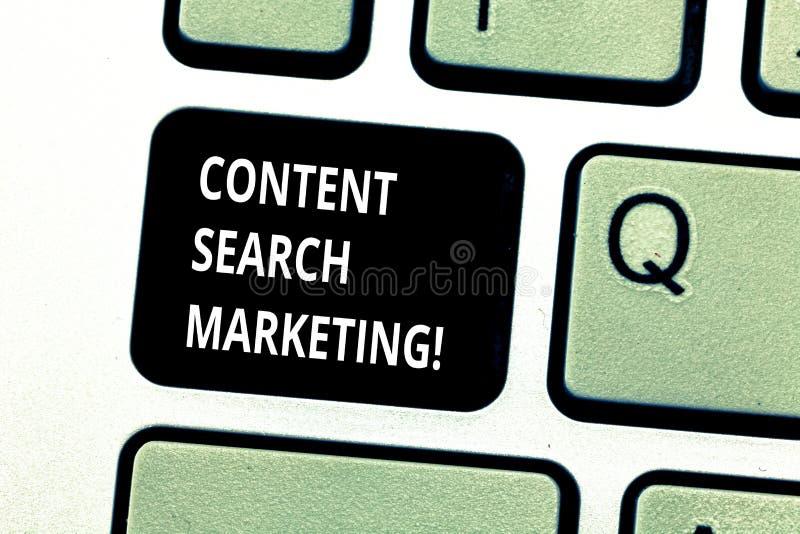 Conceptuele hand die tonend Inhoudszoeken Marketing schrijven Bedrijfsfoto die bevorderend websites door te stijgen demonstreren royalty-vrije stock afbeeldingen