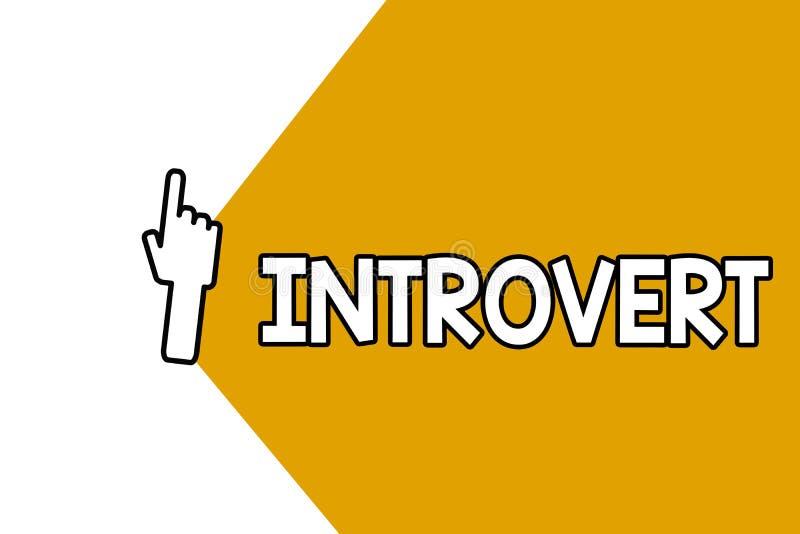 Conceptuele hand die tonend Introvert schrijven De bedrijfsfoto demonstratie neigt te zijn het binnenkomende draaien of concentre royalty-vrije illustratie