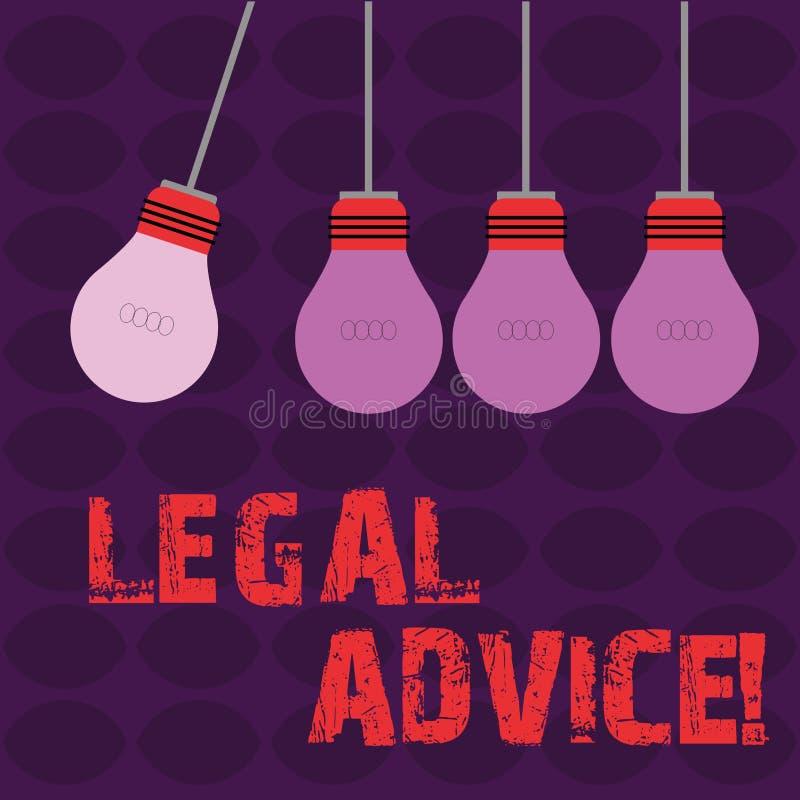 Conceptuele hand die tonend Juridisch Advies schrijven De professionele adviezen van de bedrijfsfototekst dat door beroeps wordt  stock illustratie
