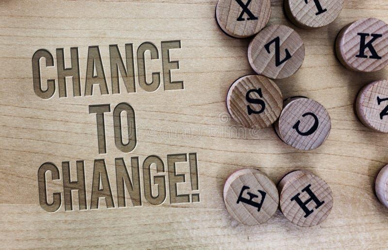 Conceptuele hand die tonend Kans te veranderen schrijven Bedrijfsfoto die de kans voor transformatie Nieuwe Bedrijfsideeën demons stock foto