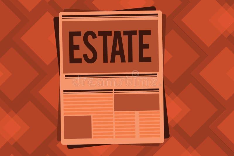 Conceptuele hand die tonend Landgoed schrijven Uitgebreid het gebiedsland van de bedrijfsfototekst in land gewoonlijk met langs b stock illustratie