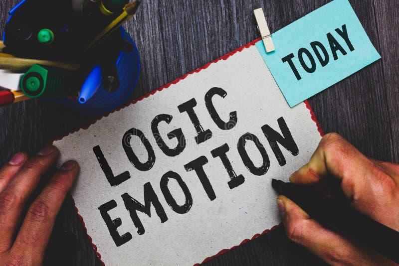 Conceptuele hand die tonend Logicaemotie schrijven Het Onplezierige die Gevoel van de bedrijfsfototekst aan Mens van de Zelfrespe stock foto