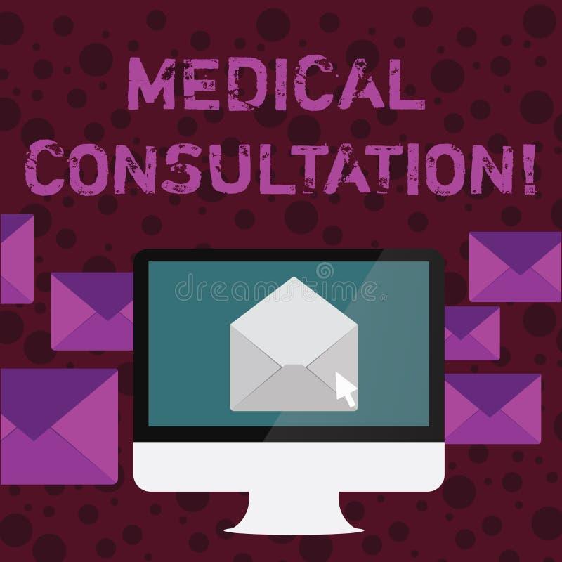 Conceptuele hand die tonend Medisch Overleg schrijven Bedrijfsfototekst het teruggeven van medisch advies of beroeps vector illustratie