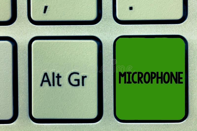 Conceptuele hand die tonend Microfoon schrijven Bedrijfsfoto demonstratieinstrument voor het omzetten van correcte golven om te z royalty-vrije stock fotografie