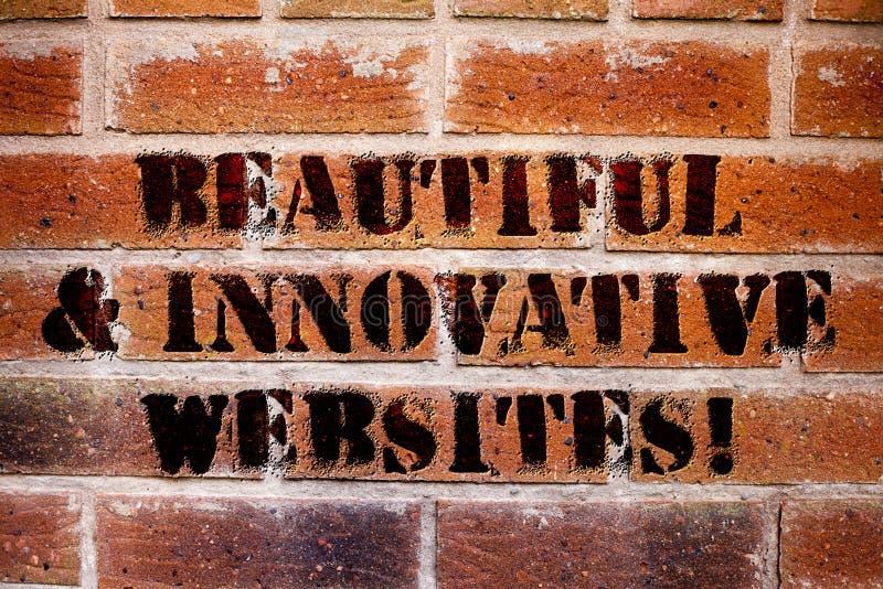 Conceptuele hand die tonend Mooie en Innovatieve Websites schrijven E stock fotografie