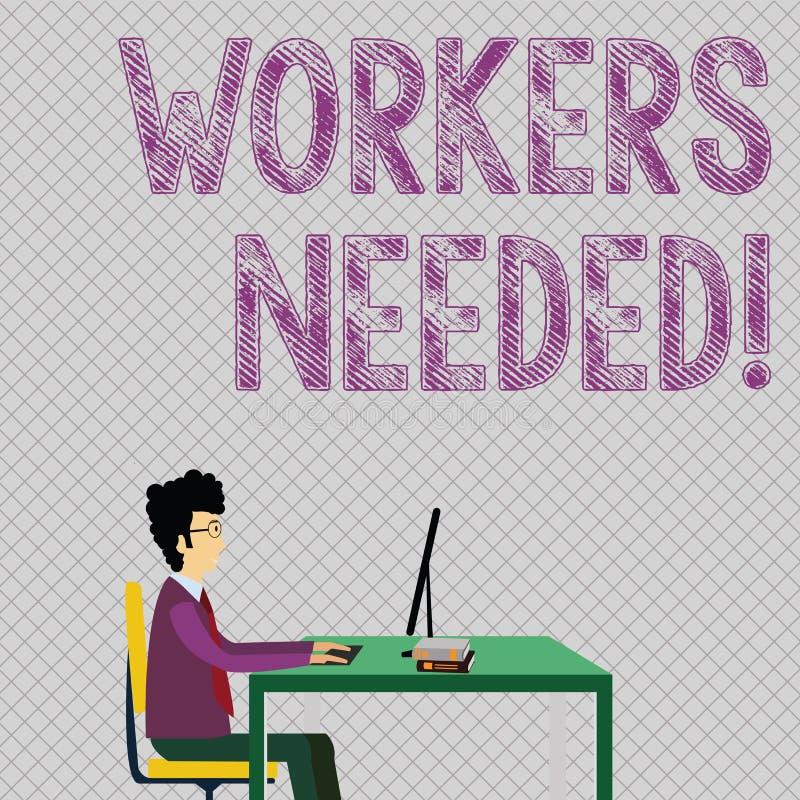 Conceptuele hand die tonend Nodig Arbeiders schrijven De bedrijfsfoto die iemand demonstreren wie door agentschap wordt tewerkges royalty-vrije illustratie