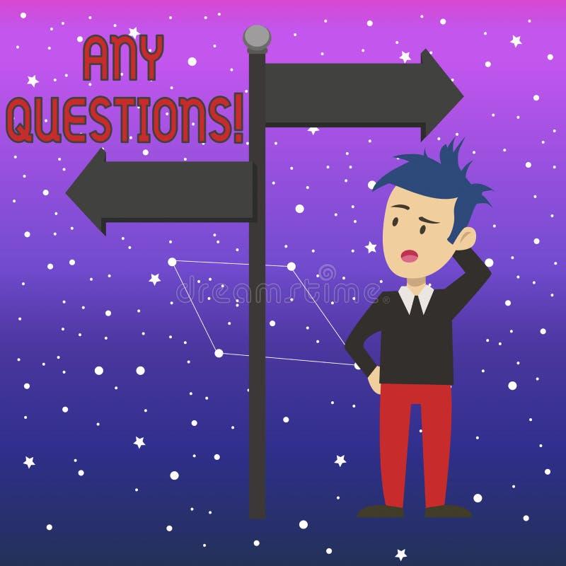 Conceptuele hand die tonend Om het even welke Vragen schrijven Bedrijfsfototekst iets dat u of zegt schrijft om a te vragen stock illustratie