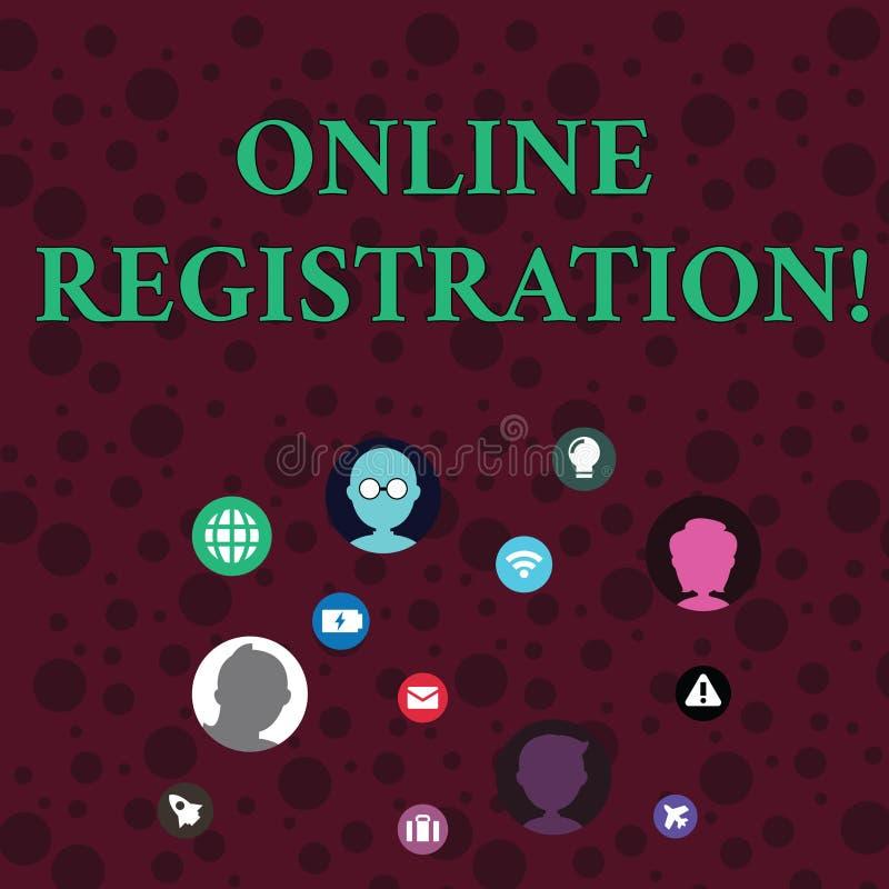 Conceptuele hand die tonend Online Registratie schrijven Bedrijfsfoto demonstratie het registreren via Internet als gebruiker van vector illustratie