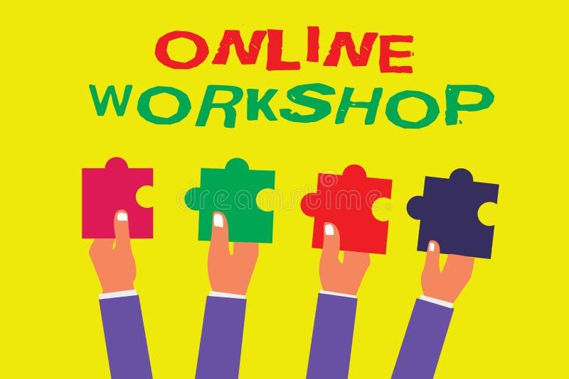 Conceptuele hand die tonend Online Workshop schrijven De bedrijfsfoto demonstratie toont van goederen en goederen over de elektro stock illustratie