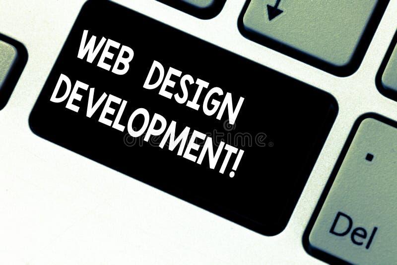 Conceptuele hand die tonend Ontwikkeling van het Webontwerp schrijven Bedrijfsfoto die ontwikkelt websites voor het ontvangen via stock foto's