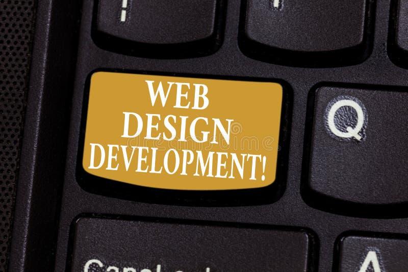 Conceptuele hand die tonend Ontwikkeling van het Webontwerp schrijven Bedrijfsfoto die ontwikkelt websites voor het ontvangen via royalty-vrije stock foto's