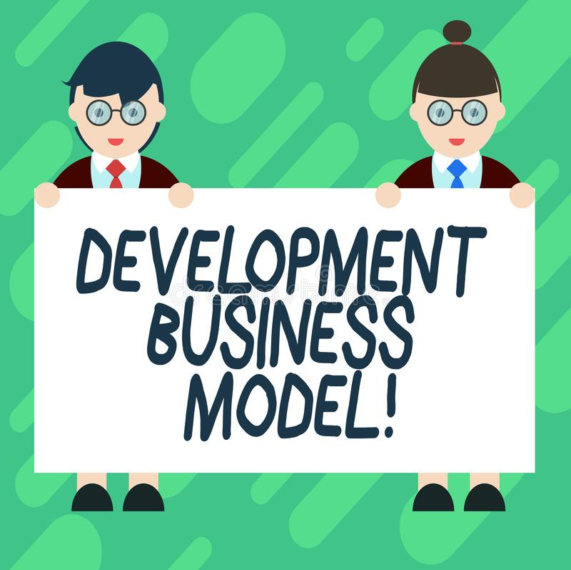 Conceptuele hand die tonend Ontwikkelings Bedrijfsmodel schrijven Bedrijfsfoto demonstratiereden van hoe een organisatie creeerde stock illustratie