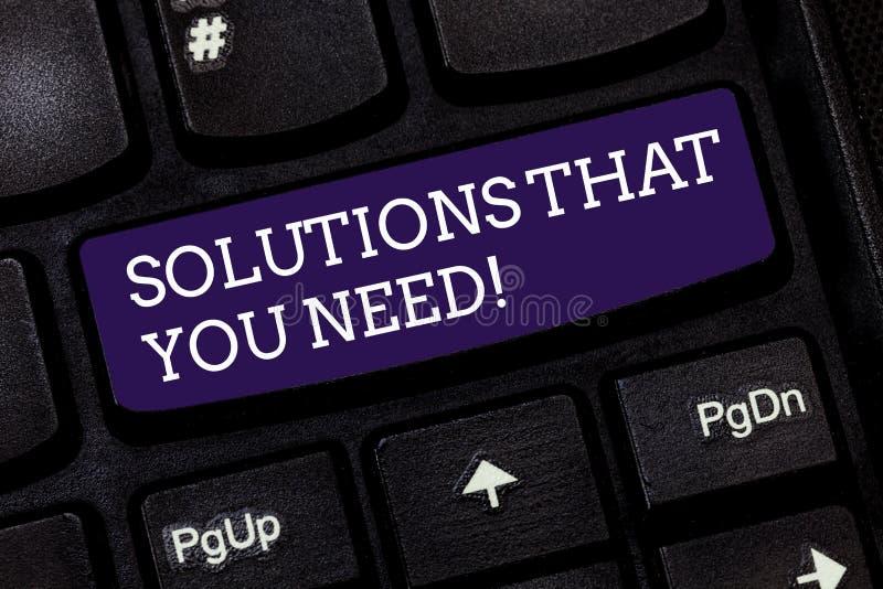 Conceptuele hand die tonend Oplossingen schrijven die u nodig hebt Van de de Adviezenhulp van de bedrijfsfototekst de steunhulp h stock afbeeldingen