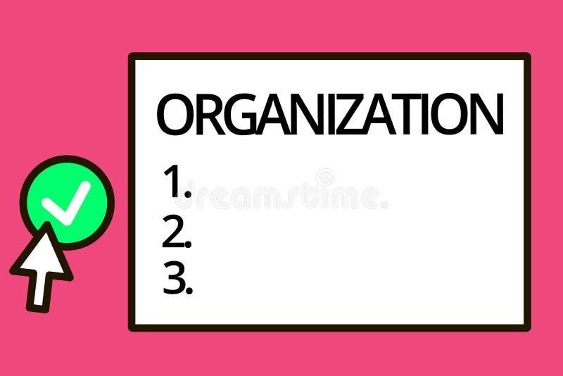 Conceptuele hand die tonend Organisatie schrijven Bedrijfsfototekst Georganiseerde groep het tonen met een bepaald doel vector illustratie