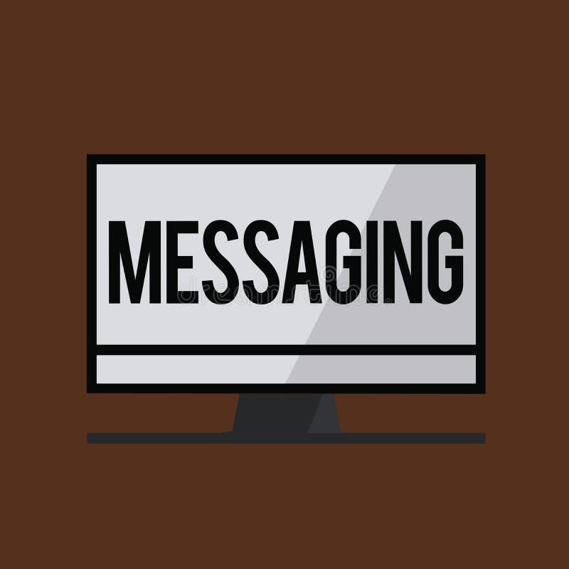 Conceptuele hand die tonend Overseinen schrijven Bedrijfsfoto demonstratiecommunicatie met anderen door berichten Texting stock illustratie