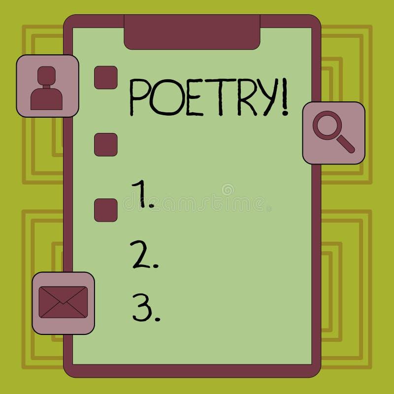 Conceptuele hand die tonend Poëzie schrijven Bedrijfsfoto die het Literaire werkuitdrukking van gevoelsideeën demonstreren met ri stock illustratie