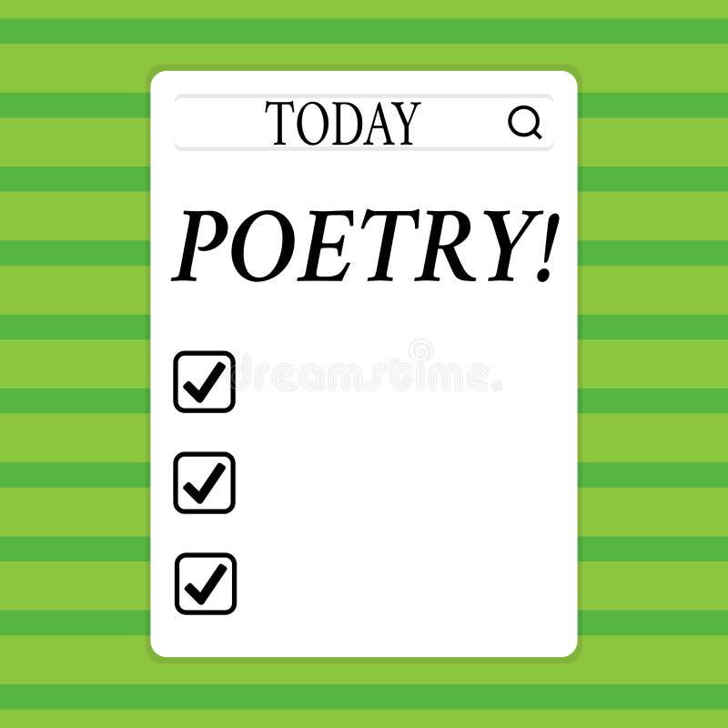 Conceptuele hand die tonend Poëzie schrijven Bedrijfsfoto die het Literaire werkuitdrukking van gevoelsideeën demonstreren met ri vector illustratie