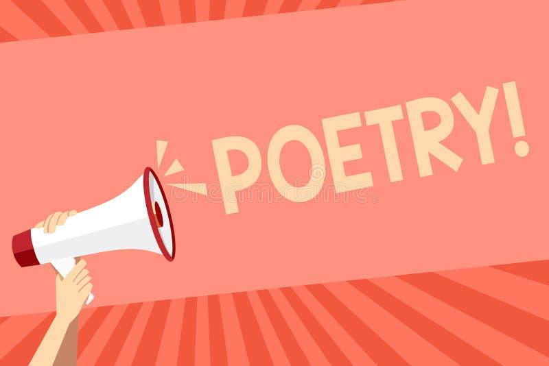 Conceptuele hand die tonend Poëzie schrijven Bedrijfsfoto die het Literaire werkuitdrukking van gevoelsideeën demonstreren met ri royalty-vrije illustratie